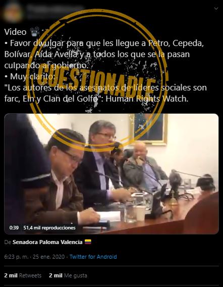 Tuit con cita errónea de Vivanco, que atribuye asesinatos de líderes a Farc
