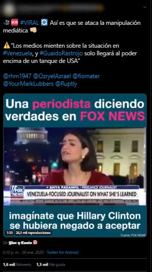 Trino inexacto que cita de declaraciones de Anya Parampil en Fox News sobre Venezuela