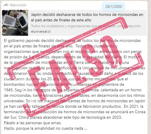 Cadena falsa de WhatsApp sobre la prohibición de los microondas en Japón