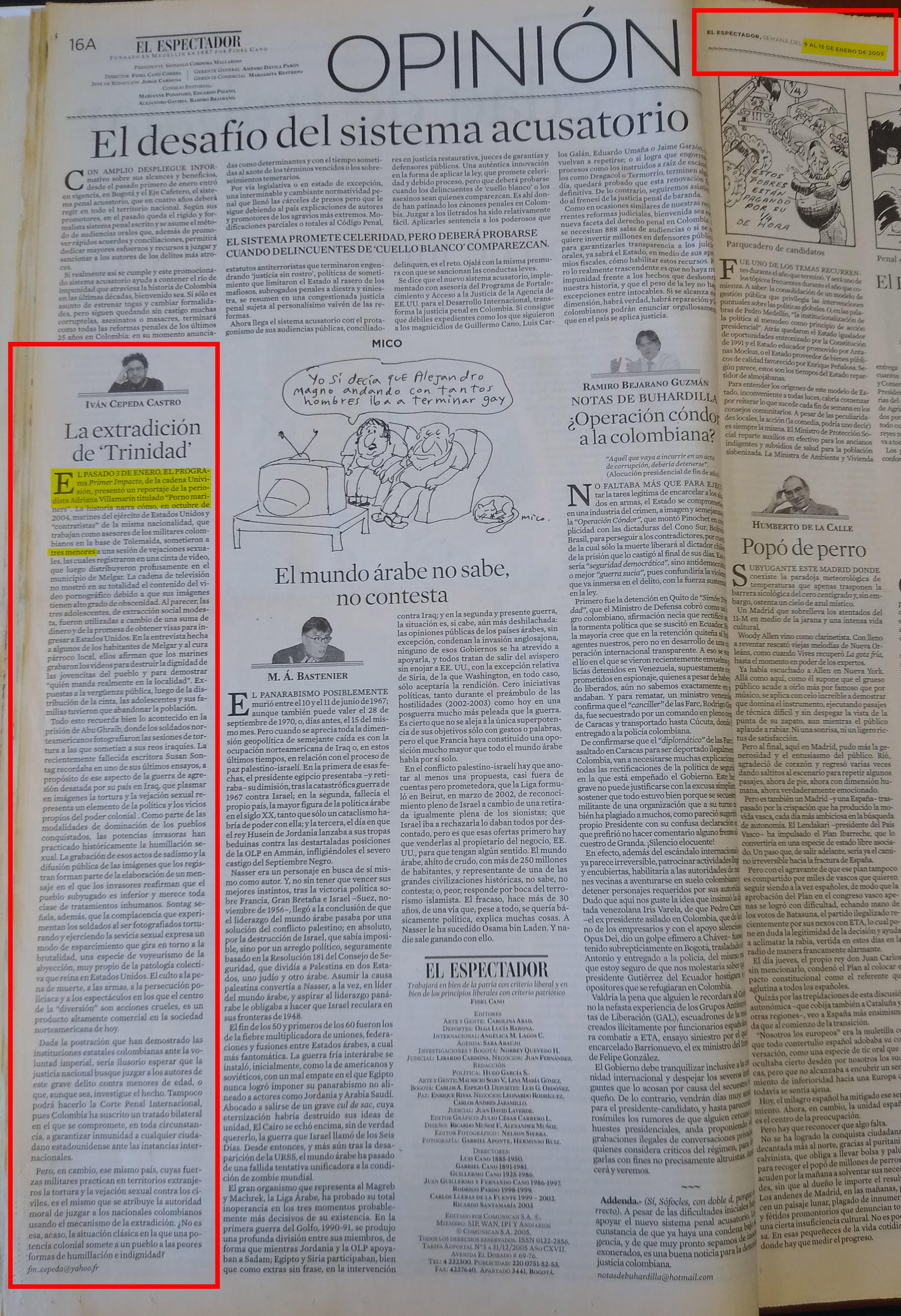 Columna de Iván Cepeda en El Espectador del 9 de enero de 2005