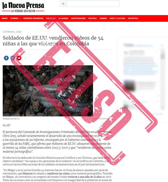 Nota falsa sobre violaciones cometidas por militares de Estados Unidos en Colombia