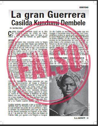 Artículo de revista afro sobre supuesta heroína Casilda Cundumí Dembele