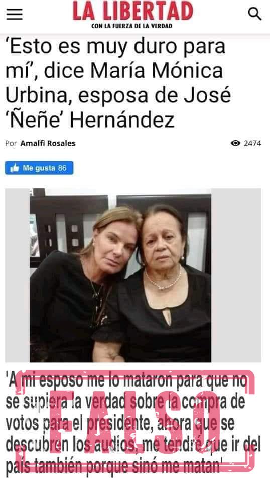 Supuestas declaraciones de María Mónica Urbina que circulan en redes