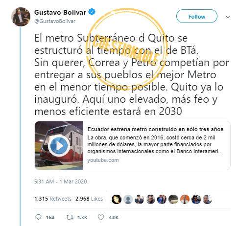 Tuit de Gustavo Bolívar que compara los metros de Quito y Bogotá