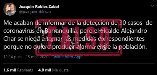 Tuit de Joaquín Robles sobre supuestos casos de covid-19 en Barranquilla
