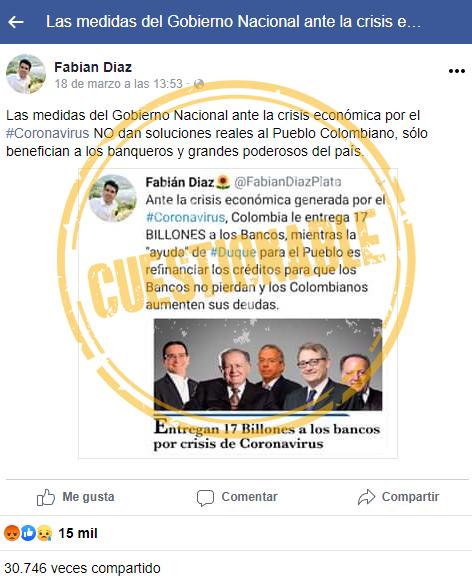 Publicación del representante Díaz Plata sobre medidas económicas por Covid-19
