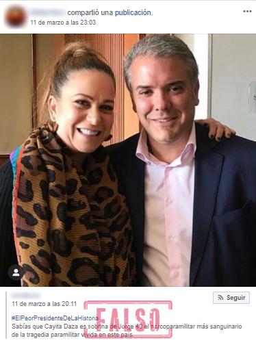 Publicación de Facebook sobre supuesto parentesco entre Cayita Daza y Jorge 40