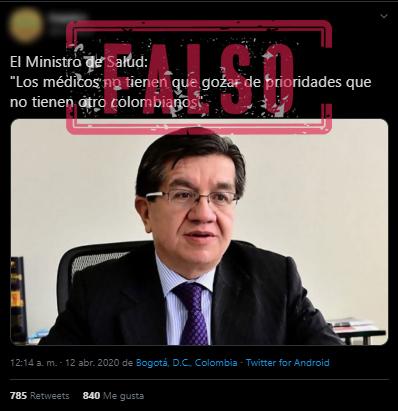 Trino con supuesta frase del ministro de Salud, Fernando Ruiz, sobre médicos