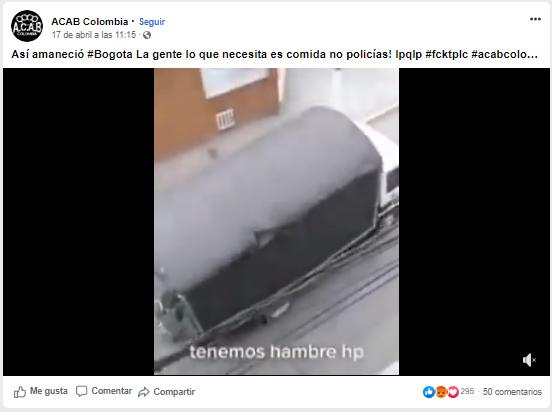 Publicación de Facebook de ACAB Colombia con el mismo video