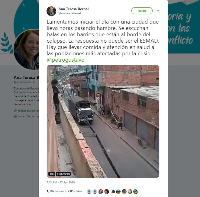 Trino de Ana Teresa Bernal con el video de policías disparando en Bogotá