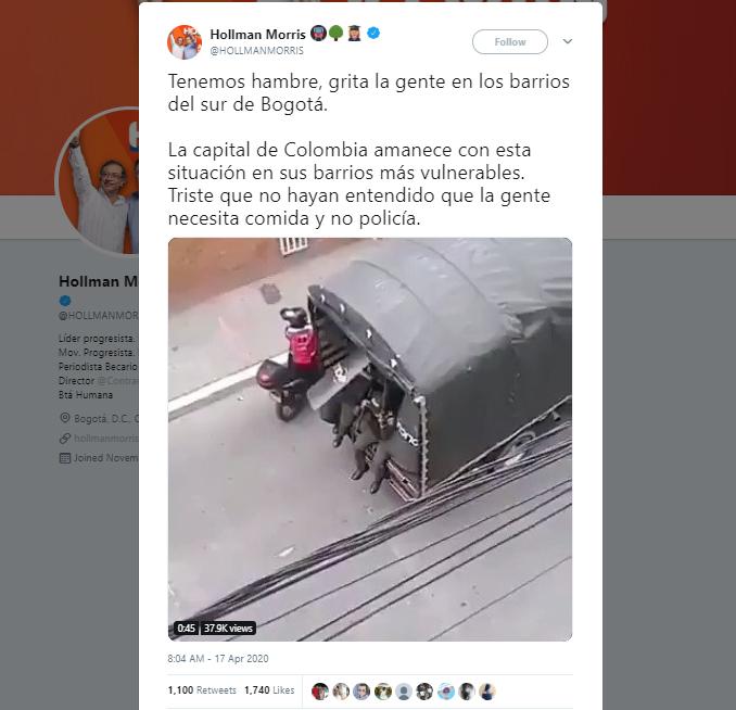 Trino de Hollman Morris con el video de policías disparando en cuarentena