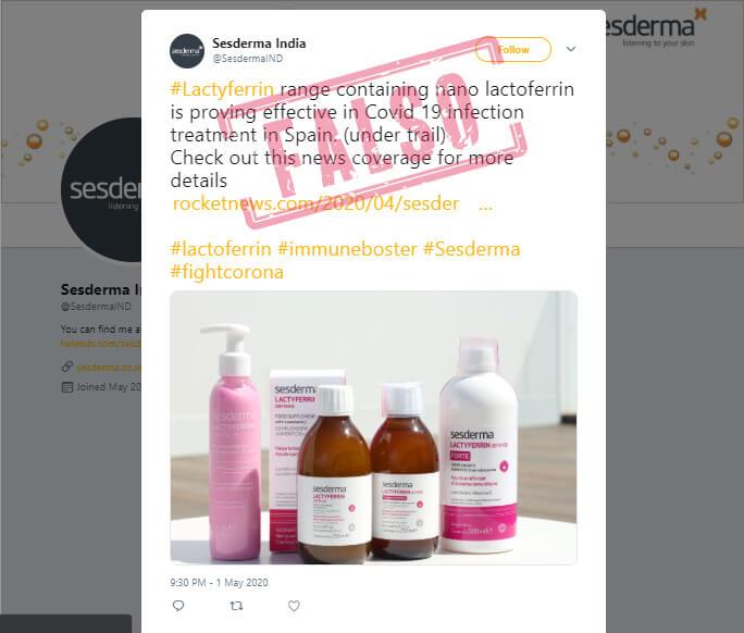 Trino de Sesderma India con noticia sobre Lactyferrin para la covid-19