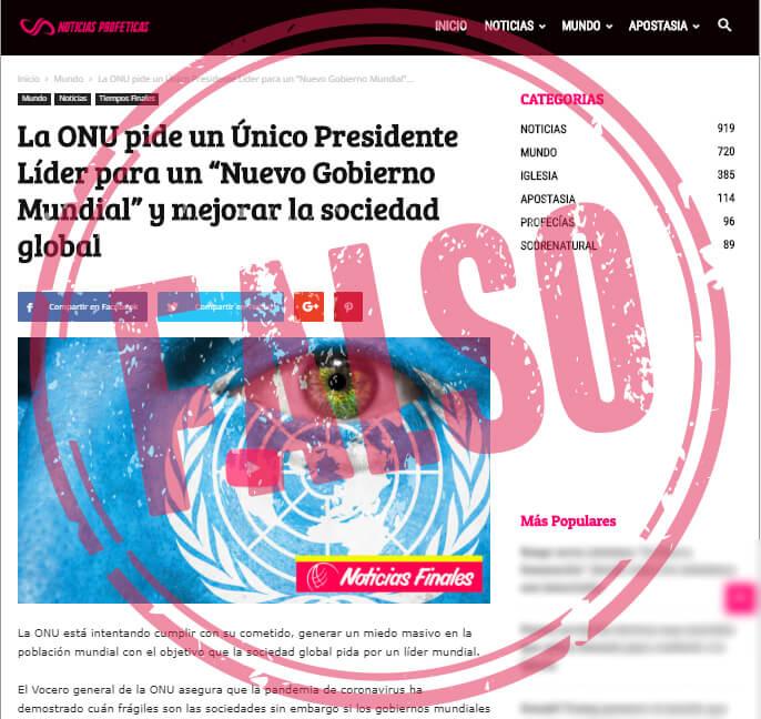 Noticia falsa sobre petición de la ONU de gobierno mundial con único líder