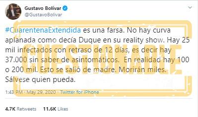 Trino de Gustavo Bolívar sobre COVID-19 en Colombia: 'Sálvese quien pueda'