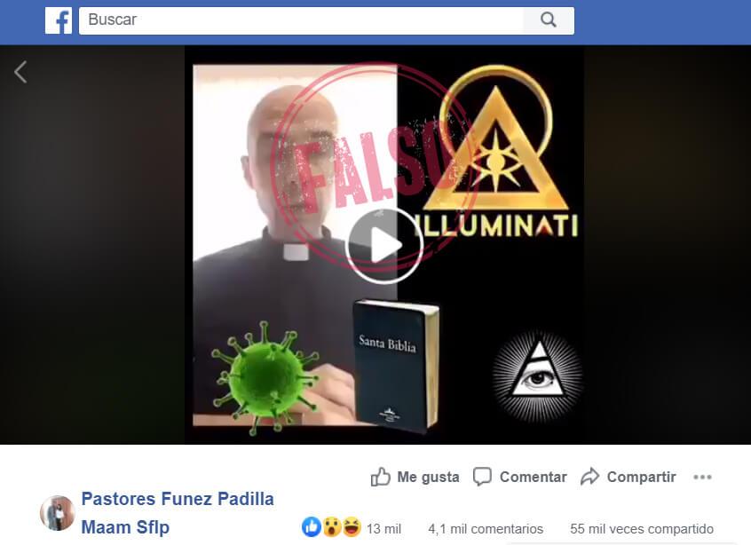 Publicación en Facebook con el video de Jorge Sonnante contra el Papa