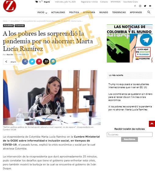 Nota sobre supuesta frase de Marta Lucía Ramírez sobre pobres en pandemia
