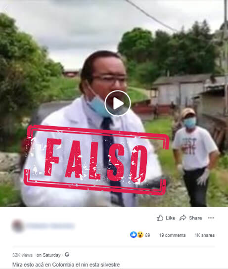Publicación en Facebook del video sobre neem contra coronavirus
