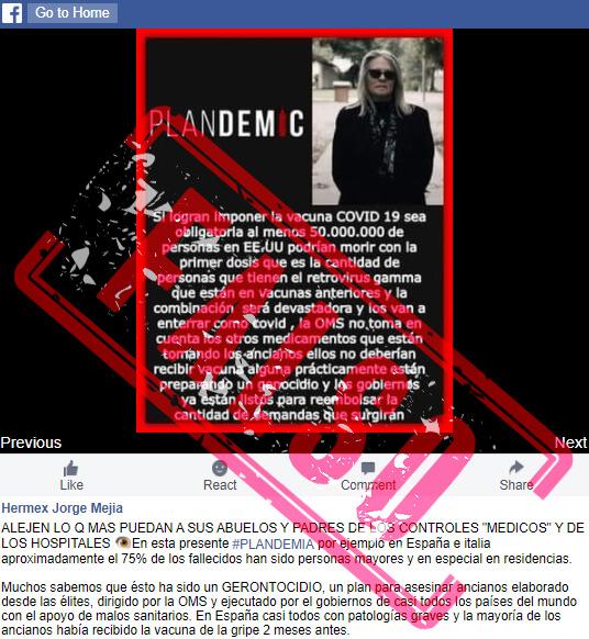 Publicación en Facebook con meme basado en 'Plandemic'