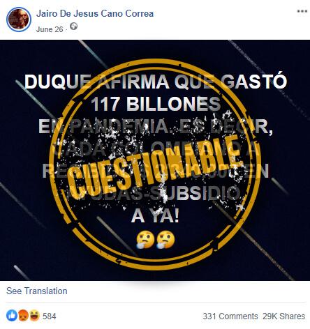 Publicación de Facebook sobre gasto del Gobierno en pandemia