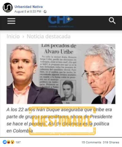 Pantallazo con atribución cuestionable a Duque sobre Uribe y paramilitares