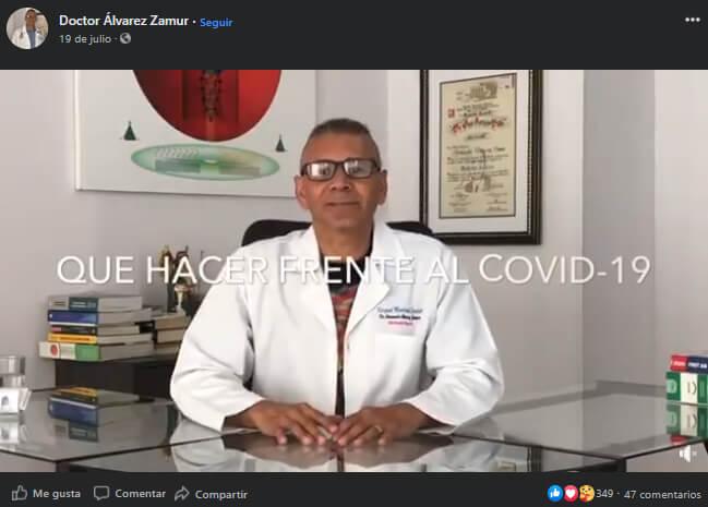 Captura del video en Facebook sobre qué hacer frente al COVID-19