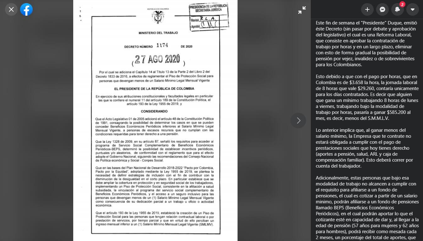 Publicación en Facebook sobre el decreto 1174 de 2020