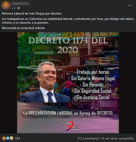 Meme sobre el decreto 1174 de 2020