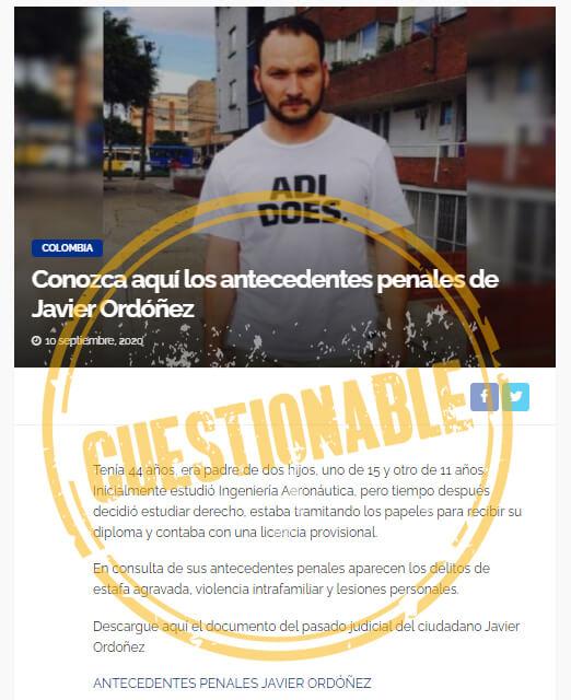 Nota en portal que también le atribuye varios delitos a Javier Ordóñez