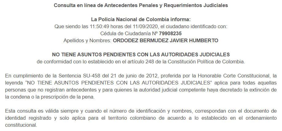 Antecedentes de Javier Ordóñez en la página de la Policía: limpios