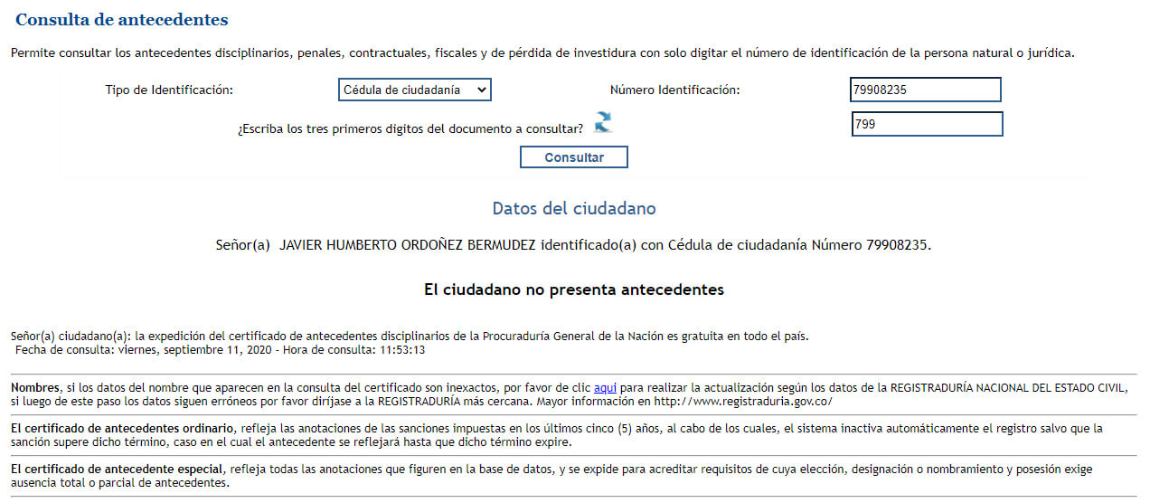 Antecedentes de Javier Ordóñez en el portal de la Procuraduría: limpios