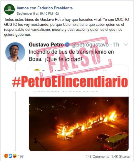 Publicación en Facebook con montaje sobre trino de Petro por bus quemado