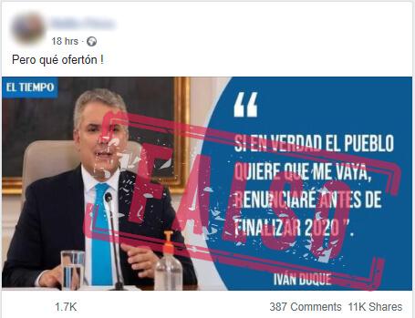 Publicación en Facebook con el supuesto anuncio de renuncia de Duque