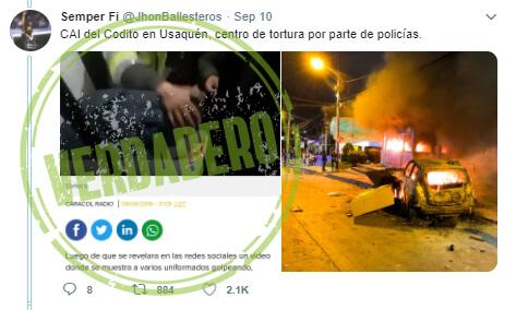 Trino 'antes y después' de las protestas sobre el CAI Codito en Usaquén