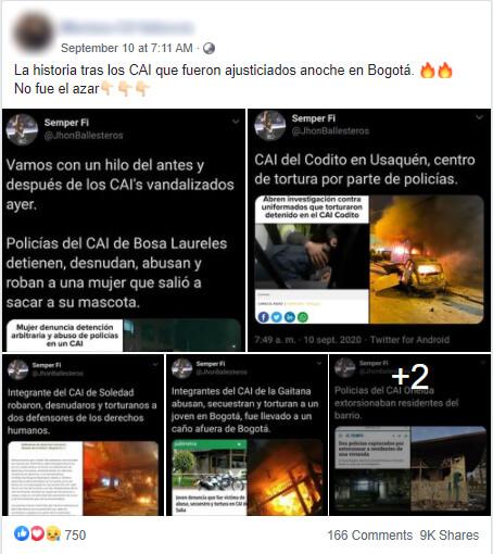 Publicación en Facebook con pantallazos del hilo de Twitter sobre los CAI