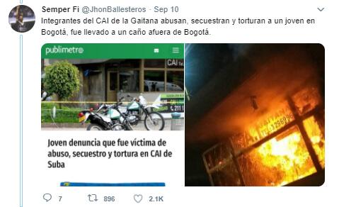 Trino 'antes y después' de las protestas sobre el CAI Gaitana en Suba