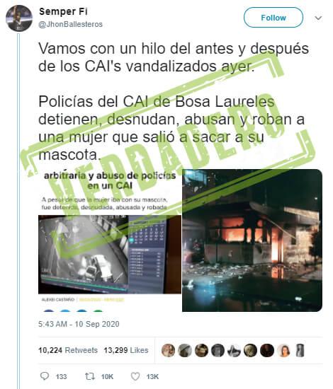 Trino 'antes y después' de las protestas sobre el CAI Laureles en Bosa