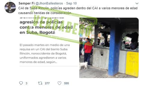 Trino 'antes y después' de las protestas sobre el CAI Rincón en Suba