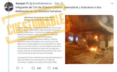 Trino 'antes y después' de las protestas sobre el CAI Soledad en Teusaquillo