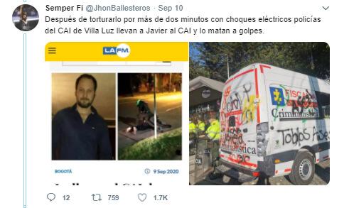 Trino 'antes y después' de las protestas sobre el CAI Villa Luz en Engativá