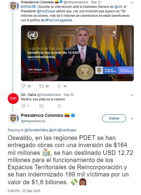 Hilo de Twitter donde Presidencia le responde cifras distintas de inversión en PDET a un usuario