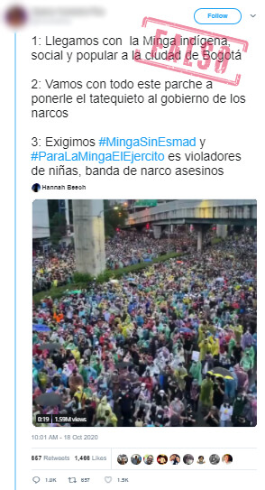 Trino con video de marchas en Tailandia como si fuera minga en Bogotá