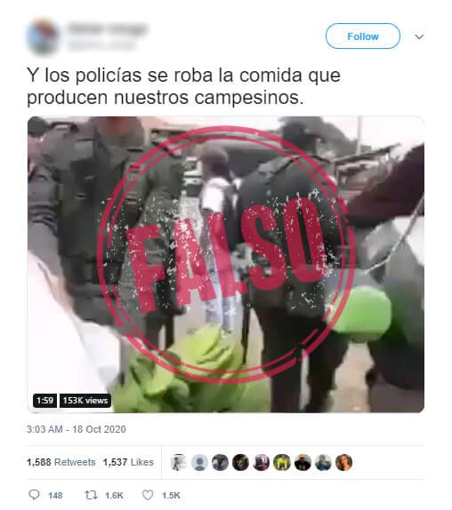 Trino con video de policías que les quitan mercados a campesinos