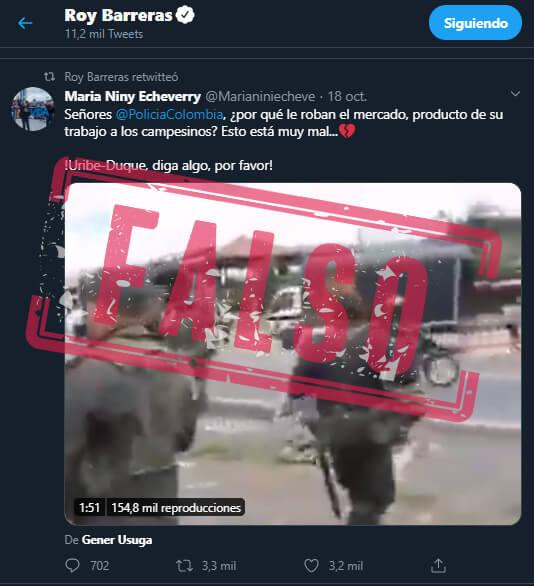 Trino retuiteado por Roy Barreras con reclamo a Duque y Uribe por policías que aparentemente roban mercados