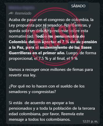 Cadena sobre falsa ley Roy Barreras en WhatsApp