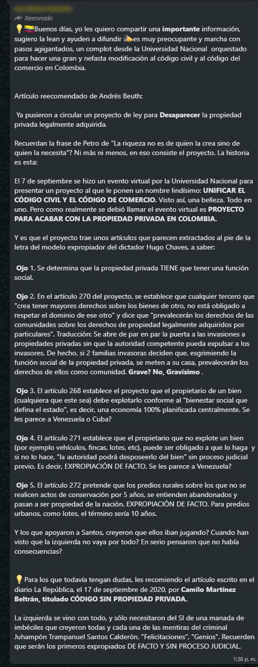 Cadena de WhatsApp sobre propuesta de nuevo Código Civil