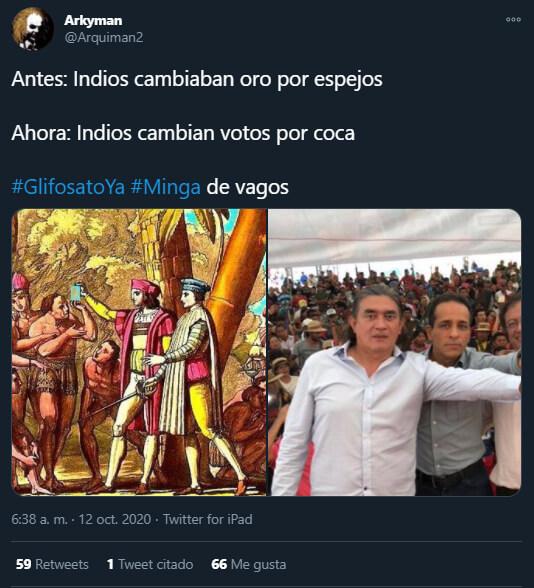 Trino de @Arquiman2 que relaciona a los indígenas y a Gustavo Petro con coca