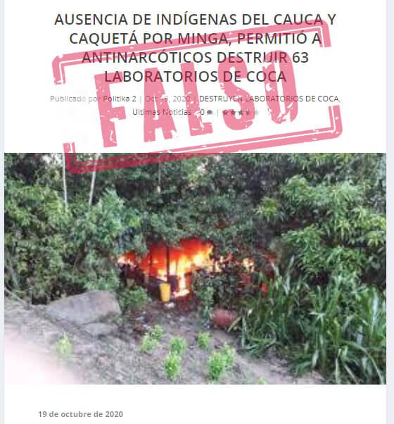 Noticia falsa que relaciona destrucción de laboratorios con ausencia de indígenas
