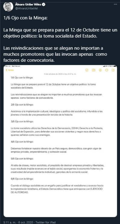 Comunicado de Álvaro Uribe en Twitter sobre la Minga 2020