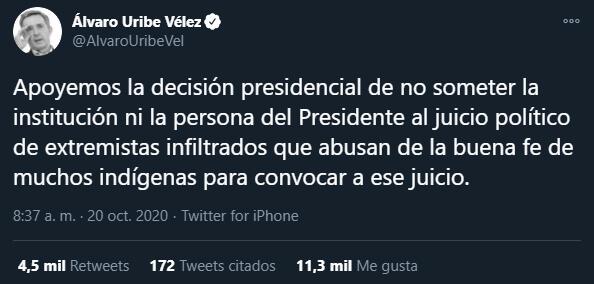 Trino de Álvaro Uribe sobre extremistas infiltrados en la Minga 2020