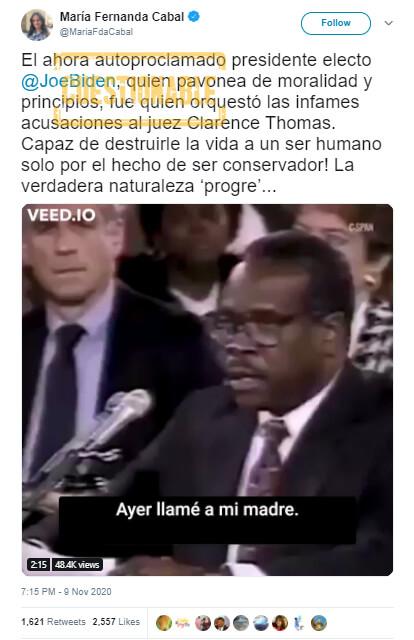 Trino de María Fernanda Cabal sobre acusaciones contra juez Thomas